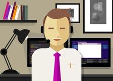 Gestión de la relación del cliente del crm del centro de atención telefónica stock de ilustración