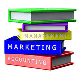 Gestión de los libros, márketing, contabilidad aislada en el fondo blanco Foto de archivo libre de regalías