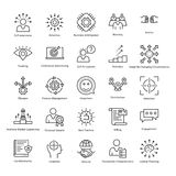 Gestión de negocio y línea iconos 36 del vector del crecimiento ilustración del vector