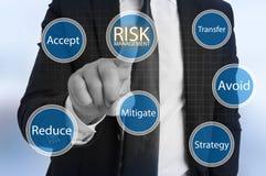 Gestión de riesgos virtual conmovedora del hombre de negocios imagenes de archivo