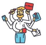 Gestión de tiempo del hombre de negocios, CEO de los trabajos múltiple, muchas tareas del encargado, concepto eficaz acertado del Ilustración del Vector