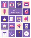 Gestión del evento, partido e iconos planos del estilo de la celebración fijados Imagen de archivo