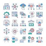 Gesti?n del proyecto, sistema plano de los iconos del trabajo en equipo libre illustration