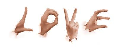 Gesti delle mani. Amore Fotografie Stock Libere da Diritti