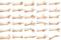 Gesti di mano caucasici maschii multipli fotografie stock