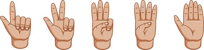 Gesti di mano, grande progettazione per qualsiasi scopi numeri Linea icona di gesto Gesti di vettore Priorità bassa bianca Lato i illustrazione di stock