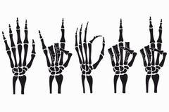 Gesti di mano di scheletro fissati Raccolta dei segni disegnati a mano delle ossa Vettore illustrazione di stock