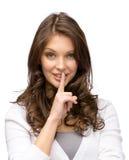 Gesti di silenzio della donna Immagini Stock