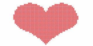 Gestickt durch Kreuzstich, rotes Herz auf weißem Hintergrund Illust lizenzfreie abbildung