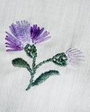 Gestickte Blumen Stockbild