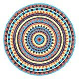 Gestickte Mandala auf einem weißen Hintergrund Muster mit Rundschreiben stock abbildung