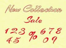 Gestickte Wörter und Zahlen für Einzelhandel Stockbilder