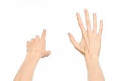 Gesticula o assunto: gestos de mão humanos que mostram a vista de primeira pessoa isolada no fundo branco no estúdio Imagens de Stock Royalty Free