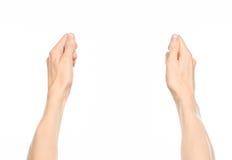 Gesticula o assunto: gestos de mão humanos que mostram a vista de primeira pessoa isolada no fundo branco no estúdio Fotografia de Stock
