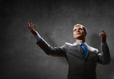 Gesticulando o homem de negócios Fotos de Stock Royalty Free