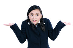 Gesticular bonito da mulher de negócios não sabe o sinal imagens de stock royalty free