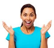 Gesticular chocado da jovem mulher fotos de stock royalty free