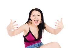 Gesticular explaning da mulher com mãos Imagens de Stock Royalty Free