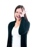 Gesticular feliz da mulher nova imagens de stock royalty free
