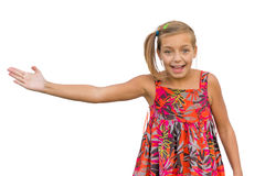 Gesticulating child girl excited expression Royalty Free Stock Photo