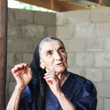 Gesticulating elderly woman royalty free stock images