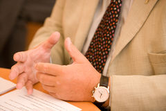 Gesticulating with hands royalty free stock photos