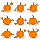 Gesticulating pumpkins view from the back Royalty Free Stock Images