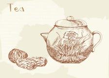 Gestiegener Tee und Teekanne Lizenzfreie Stockfotografie