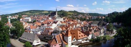 Gestikt panorama van Cesky Krumlov in Tsjechische Republ Stock Foto