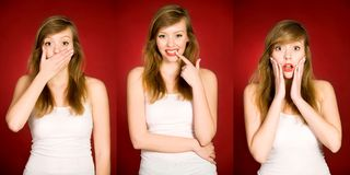 Gestikulieren der jungen Frau Stockfotos
