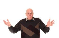 Gestikulieren des älteren älteren Mannes Stockfotografie