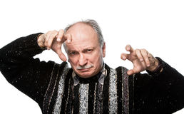 Gestikulierender älterer Mann Lizenzfreie Stockfotografie