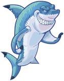 Gestikulierendes Haifisch-Maskottchen-Vektor-Karikatur-Mittelclip Art Illustration Lizenzfreies Stockbild
