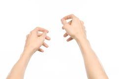 Gestikuliert Thema: menschliche Handzeichen, welche die Erstpersonenansicht lokalisiert auf weißem Hintergrund im Studio zeigen Stockfotos