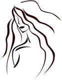 Gestileerd artistiek vrouwengezicht in zwarte tonen stock illustratie