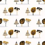 Gestileerd Boomhout die Naadloos Patroon, Hand herhalen Getrokken Uitstekende Stijl royalty-vrije illustratie