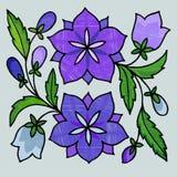 Gestileerd borduurwerk van klokken royalty-vrije illustratie