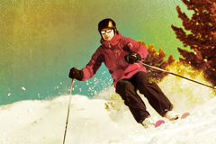 Gestileerd de skiër retro van Backcountry Stock Fotografie