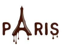 Gestileerd die beeld van de Toren van Eiffel van gesmolten chocolade op wit wordt gemaakt stock afbeelding