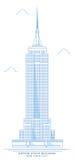 Gestileerd Empire State Building, ontwerp uit de vrije hand De Stadswolkenkrabber van New York stock illustratie