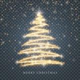 Gestileerd gouden Vrolijk Kerstboomsilhouet van glanzende cirkeldeeltjes op zwarte transparante achtergrond Gouden vector stock illustratie