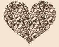 Gestileerd hart met abstract ornament Stock Fotografie
