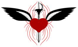 Gestileerd hart met vleugels en geïsoleerd zwaard vector illustratie