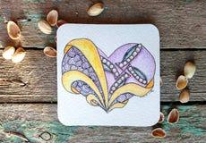 Gestileerd hart, valentijnskaart Stock Afbeeldingen