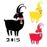 Gestileerd horoscoopteken Reeks geïsoleerde illustraties van een geit Stock Fotografie
