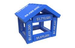 Gestileerd huis dat van spreadsheet 3d elementen wordt gemaakt Royalty-vrije Stock Fotografie