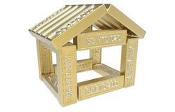 Gestileerd huis dat van spreadsheet 3d elementen wordt gemaakt Stock Foto
