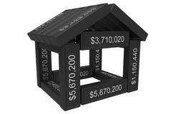 Gestileerd huis dat van spreadsheet 3d elementen wordt gemaakt Stock Afbeelding