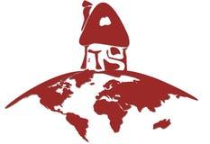 Gestileerd Landelijk Huis op The Globe vector illustratie