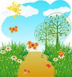 Gestileerd landschap met bomen en vlinders. Royalty-vrije Stock Foto's